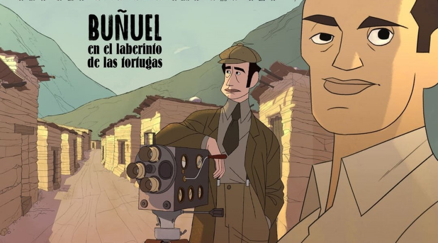 Cartel de Buñuel en el laberinto de las tortugas, película de animación preseleccionada para optar a representar a España en la 92ª edición de los Premios Oscar en la categoría de Mejor Película Internacional.