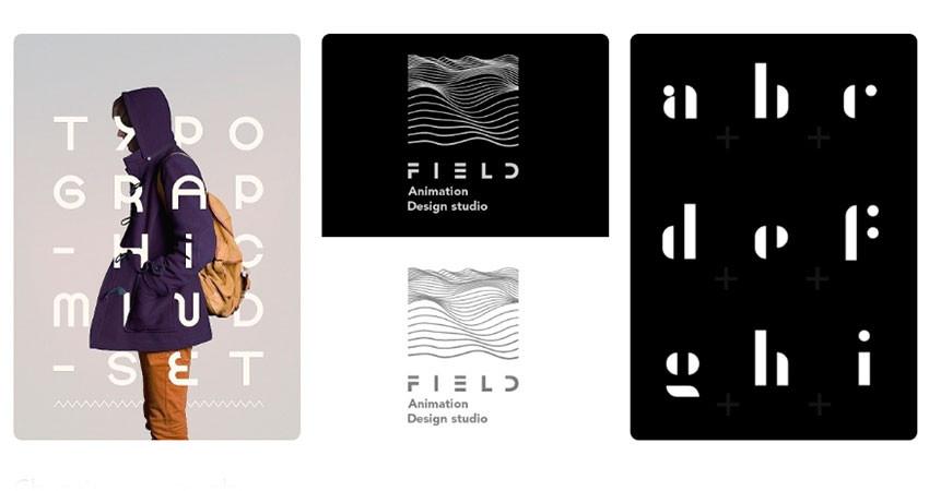 Tendencia diseño gráfico tipografia recortada
