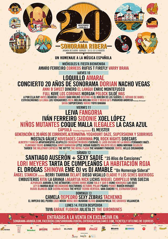 Cartel completo de la edición 20 aniversario del Festival Sonorama Ribera de Aranda de Duero, Burgos