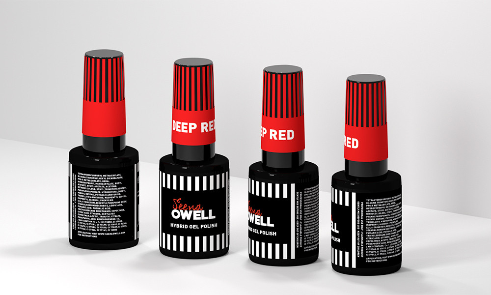 Diseño de producto, diseño de los frascos de esmalte de uñas Seena Owell