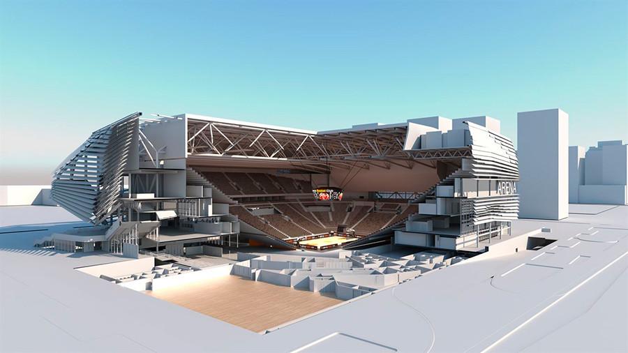 Imagen virtual del pabellón Casal España Arena que se construye en Valencia, vista 3
