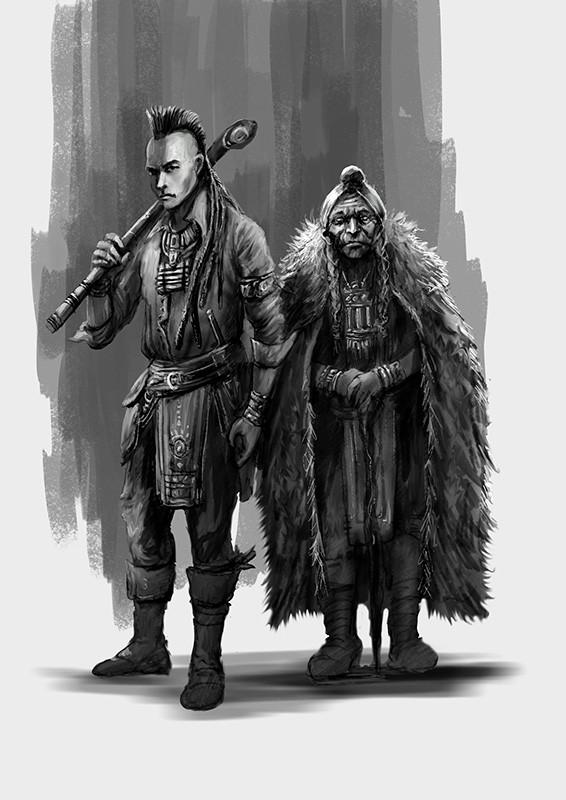 ilustracion de patricio clarey para la novela gráfica Savage, diseño de personajes, los indios