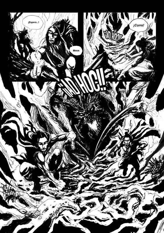 ilustracion de patricio clarey para la novela gráfica Savage diseño de página