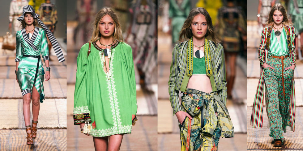 las modelos lucen las creaciones que han diseñado los diseñadores con el verde 'greenery' que será el color para el próximo 2017