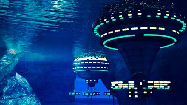 Representacion virtual de una colonia base submarina dirigida por inteligencia artificial.
