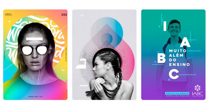 Tendencia diseño gráfico transiciones de color