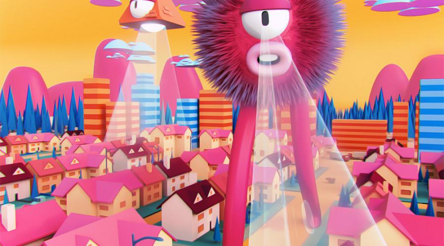 Ilustración «Annihilation day yay» de Cosmik Madness, en 3D de temática sci-fi.