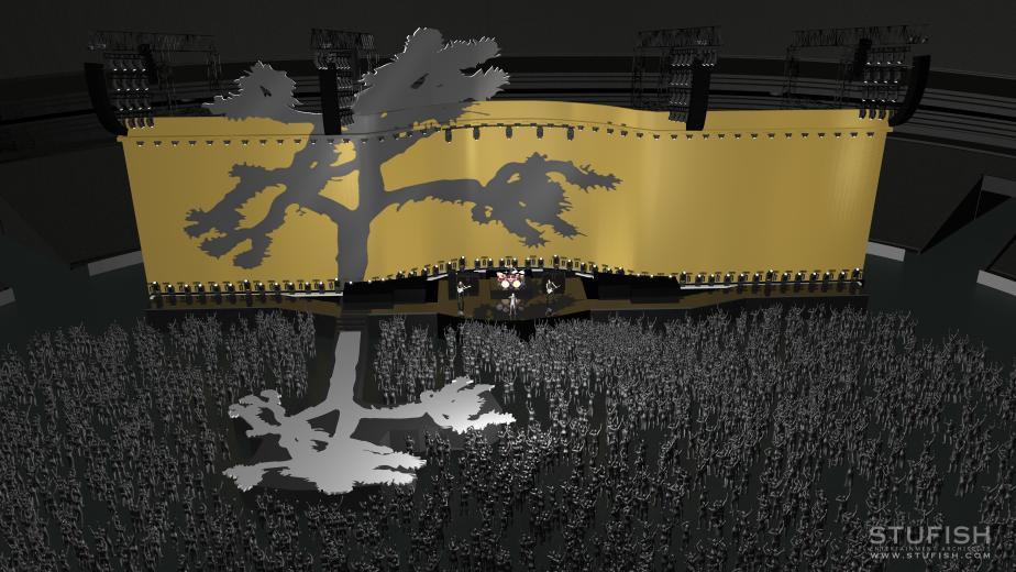 Recreación del escenario, vista parcialmente cenital