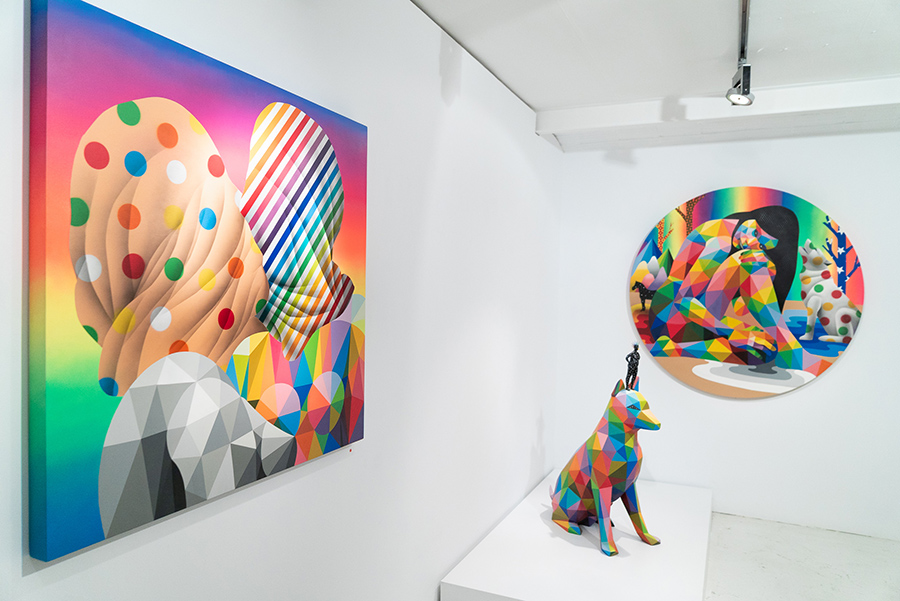 Obras del artista Okuda San Miguel en Delimbo Gallery de Madrid, expo Friends and Family de 2020