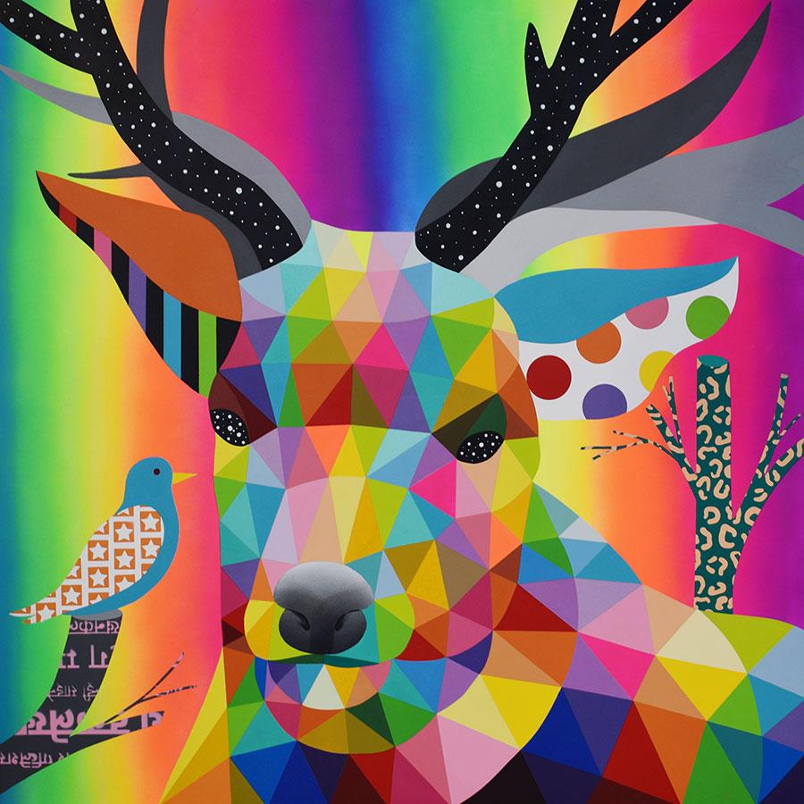 Ciervo, obra del artista Okuda San Miguel del año 2020