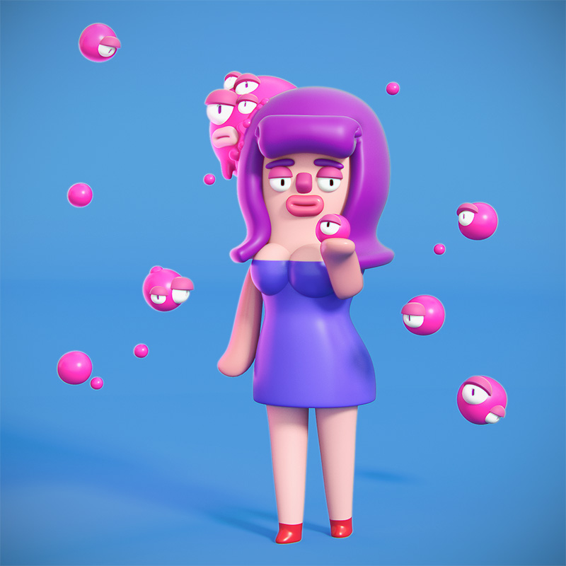 Ilustracion 7 diseño 3D Cosmik Madness, Roberta the homunculus queen