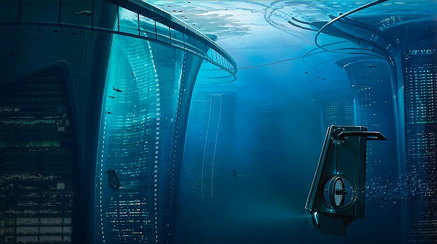 Underwater city 2. Ciudad submarina obra de un autor desconocido