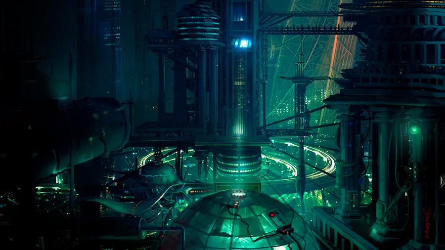Underwater city 3. Una ciudad submarina obra de un autor desconocido.