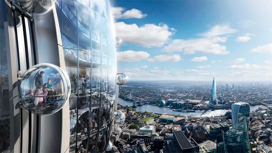 Los ascensores panorámicos exteriores formando una noria disruptiva