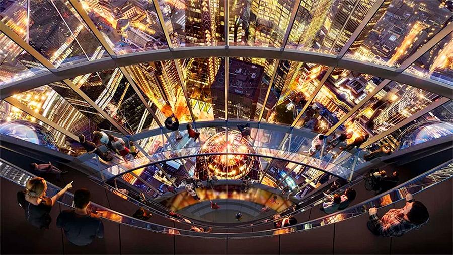 El atrium del edificio El Tulipàn con un skybridge o puente aereo espectacular