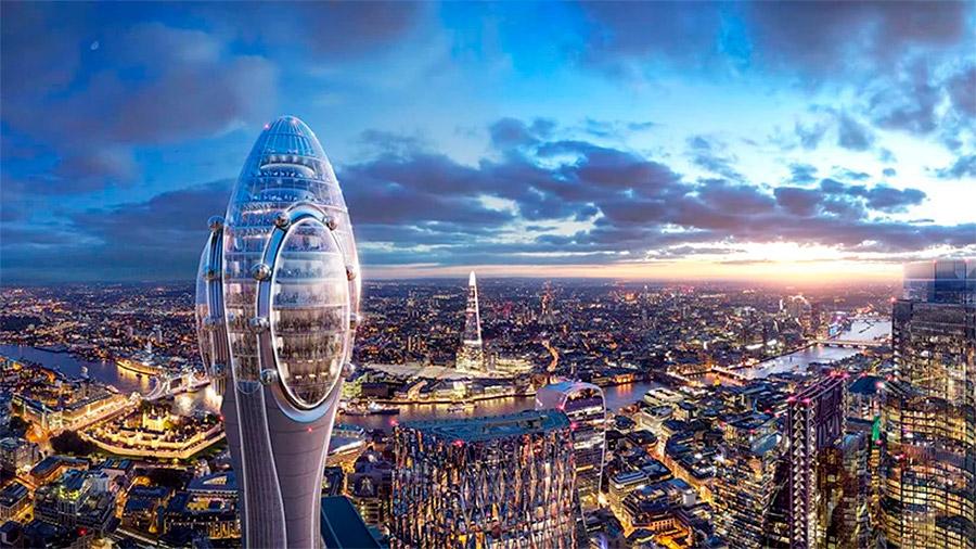 En primer término la torre The Tulip con la ciudad de Londres a sus pies