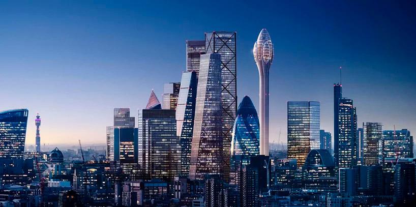 Conjunto de rascacielos en el distrito financiero de Londres, The Tulip será el más alto de todos ellos