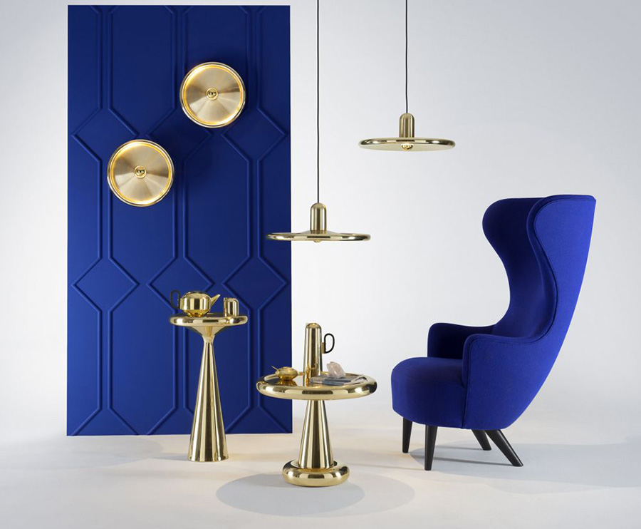 Conjunto sillón Wingback con otros accesorios diseñados todos ellos por Tom Dixon