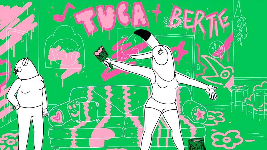 Fotograma de la serie de animación de Netflix Tuca & bertie de Lisa Hanawalt