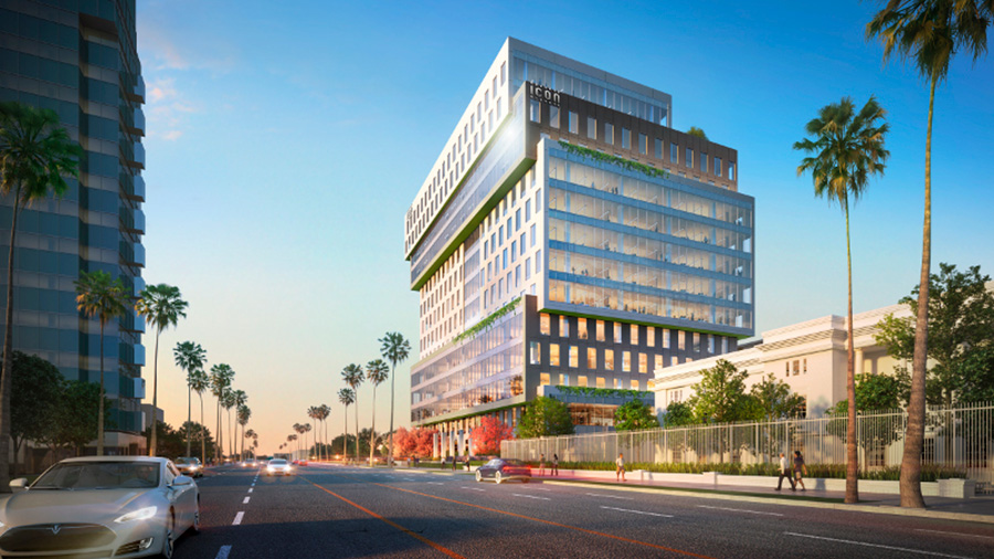 Otra imagen 3D del edificio Sunset Bronson Studios realizado por el estudio de arquitectura Gensler.