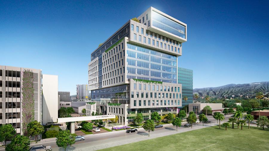 Render 3D del edificio Sunset Bronson Studios realizado por el estudio de arquitectura Gensler.