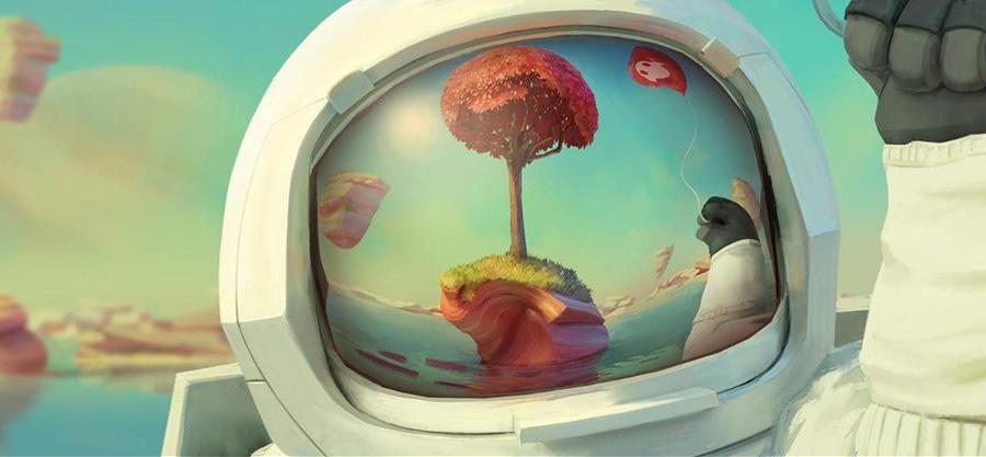 Reflejo de un paisaje fantástico en el casco del astronauta de Magic Leap.