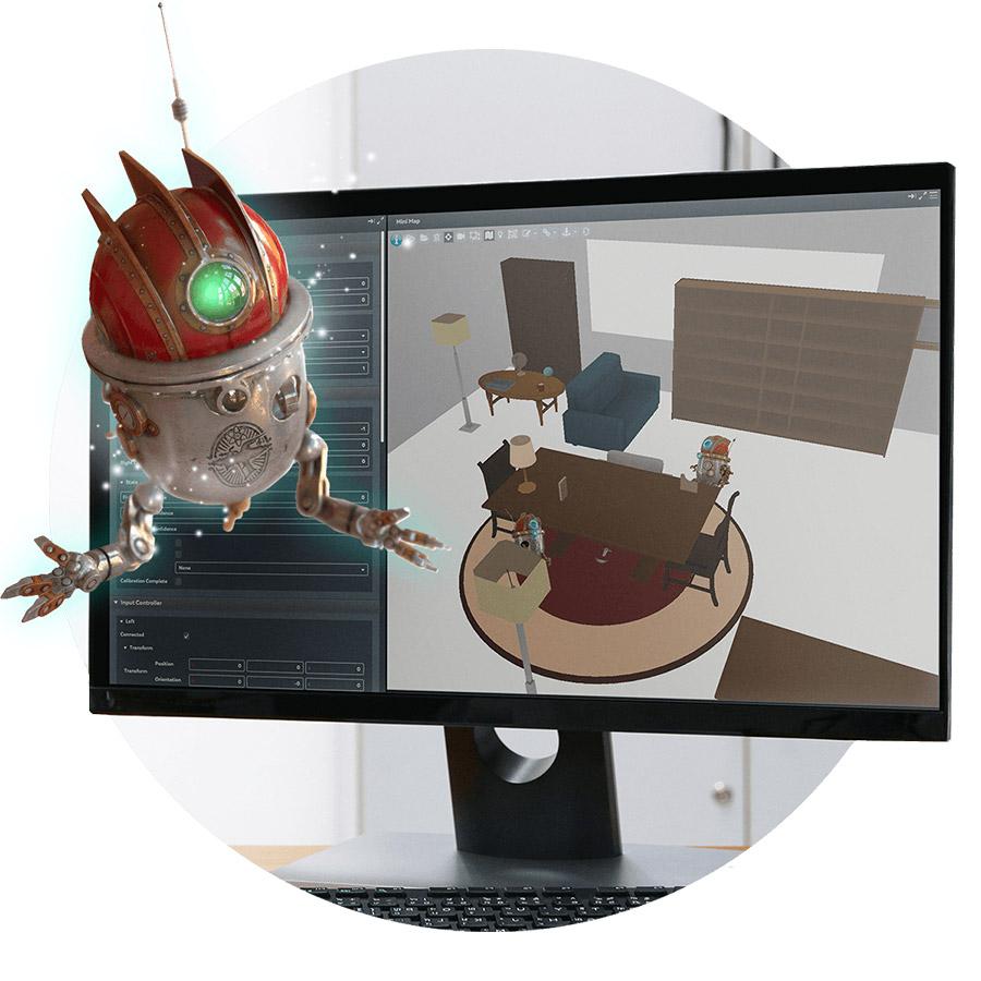 Imagen de un robot vista con realidad aumentada sobre un monitor de ordenador.