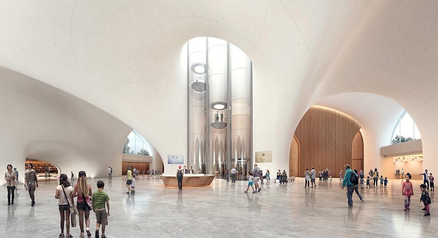 Imagen del proyecto del Museo de Arte Narrativo de Lucas. Recreación del interior del museo.
