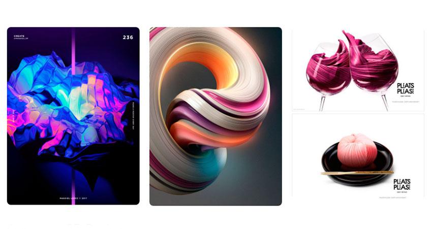 Tendencia diseño gráfico colores brillantes y composición 3D