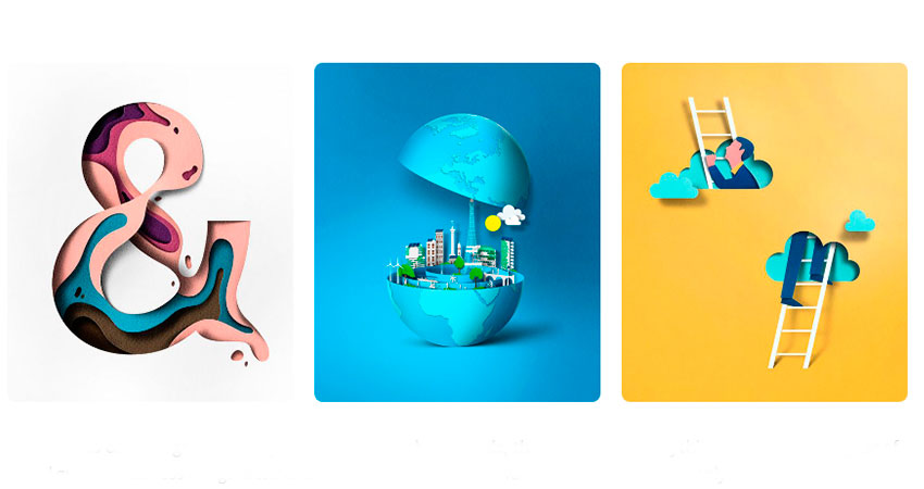 Tendencia diseño gráfico ilustraciones papercut