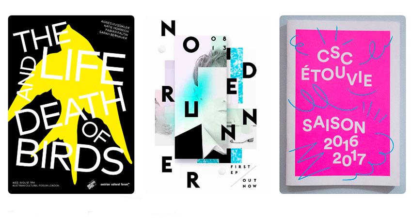 Tendencia diseño gráfico tipografia caotica