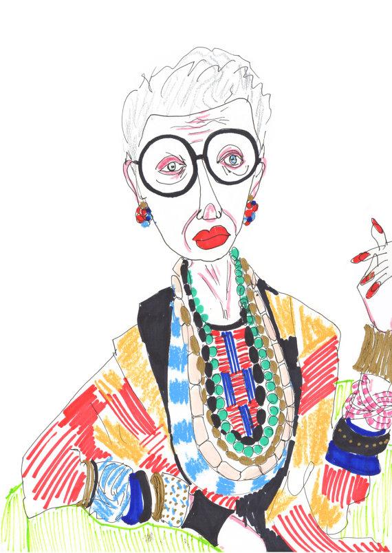 Ilustracion de Iris Apfel hecha por Kirsty Mckenzie