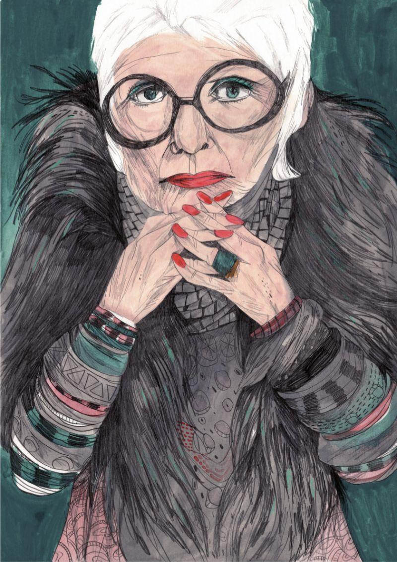 Ilustracion de Iris Apfel hecha por María Herreros.