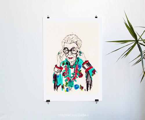 Ilustracion de Iris Apfel hecha por Verónica Algaba.