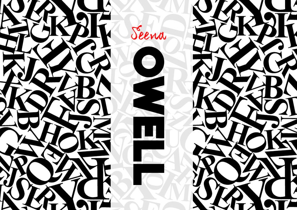 Marca de cosméticos Seena Owell con un fondo de letras