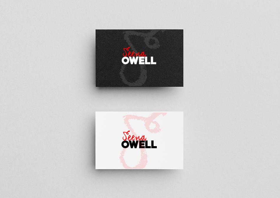 Tarjetas de la marca de cosméticos Seena Owell de color blanco y negro