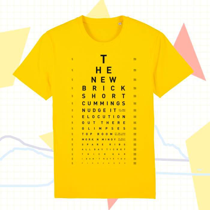 Sleaford Mods merchandising, camiseta tshirt test de visión versión amarilla
