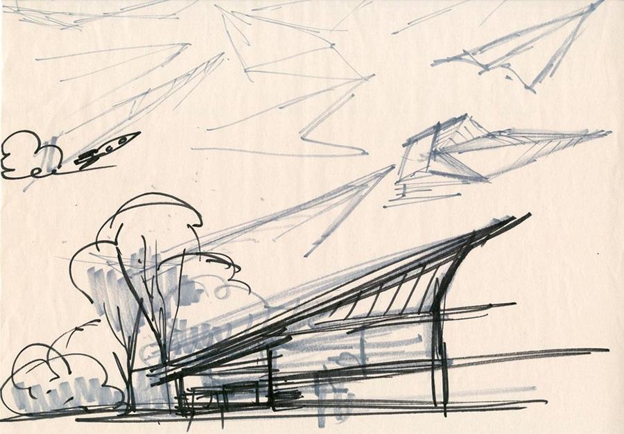 Uno de los primeros bocetos o concept art de Ralph Eggleston realizado para el diseño de la casa de los Parr de la película de Los Increíbles 2
