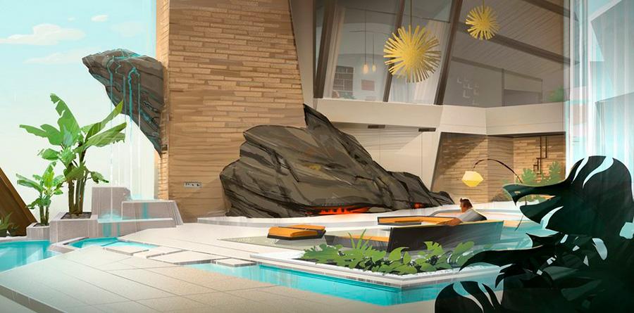 Concept art de Garrett Taylor y Philip Metschan para el diseño de la casa de los Parrr de la película Los Increíbles 2