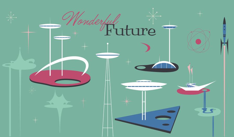 Diseños Googie con estilo futurista Wonderful Future