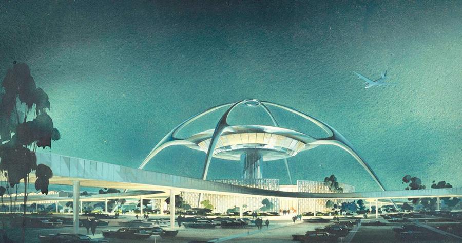 Proyecto de diseño de Theme building, el edificio de estilo Googie situado en el aeropuerto internacional de Los Angeles LAX