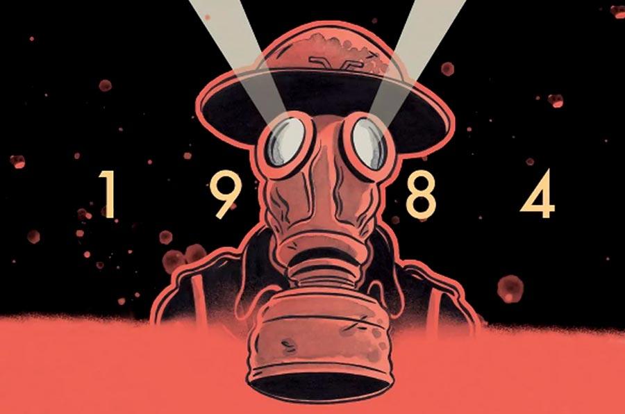 Ilustración de la contraportada del cómic 1984 de Fido Nesti