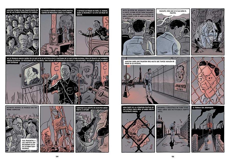 Página interior de 1984, la novela gráfica de George Orwell ilustrada por Fido Nesti