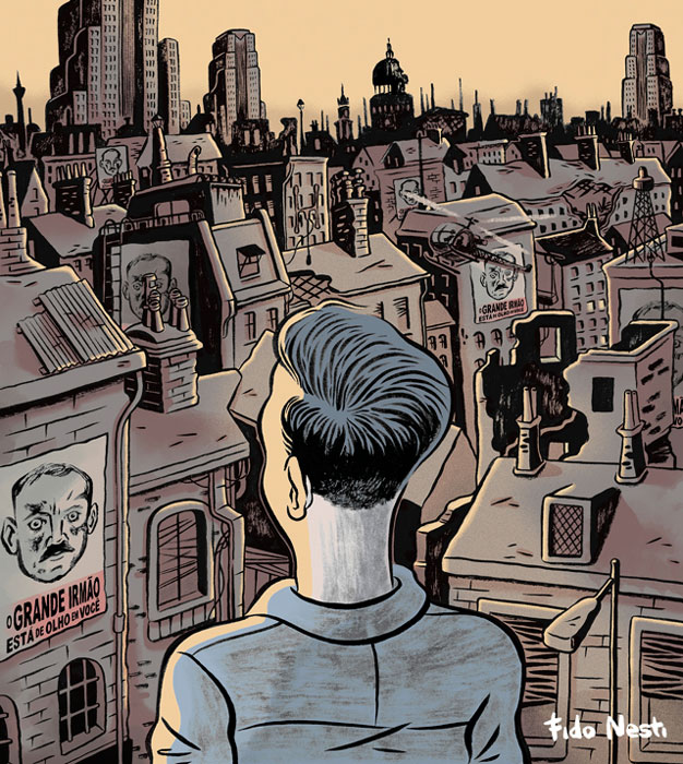 Detalle de página interior de la novela gráfica ilustrada por Fido Nesti 1984