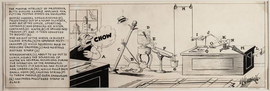 Dibujo de Rube Goldberg del año 1929 del Professor Butts y su invento de máquina para pegar sellos, explicado paso a paso