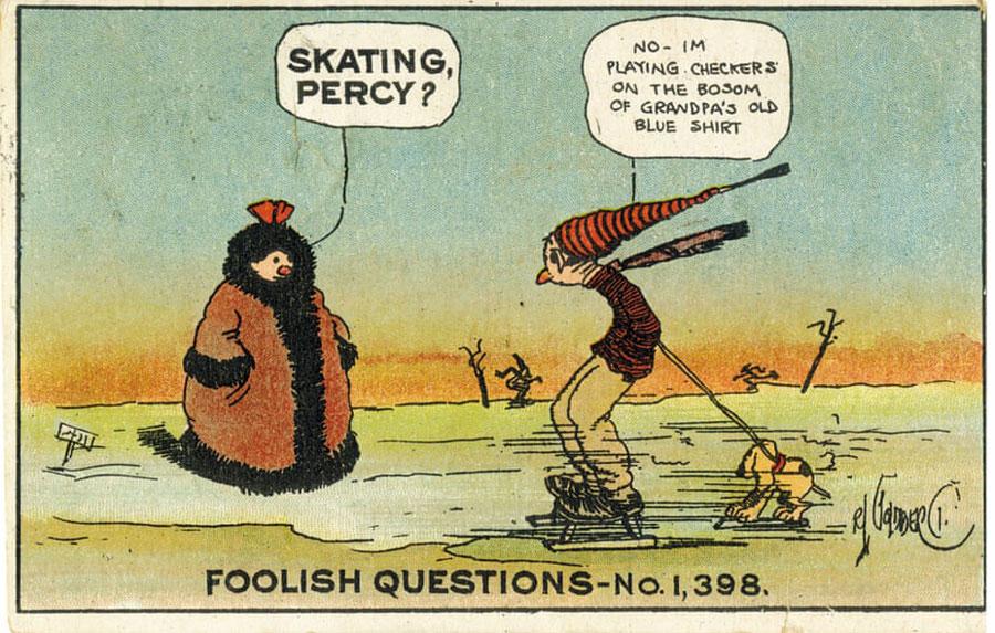 Postal de 1910 con ilustración de Rube Goldberg foolish questions