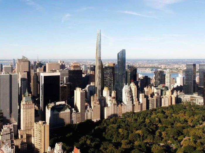 Vista del edificio Steinway Tower en el Midtown Manhattan.