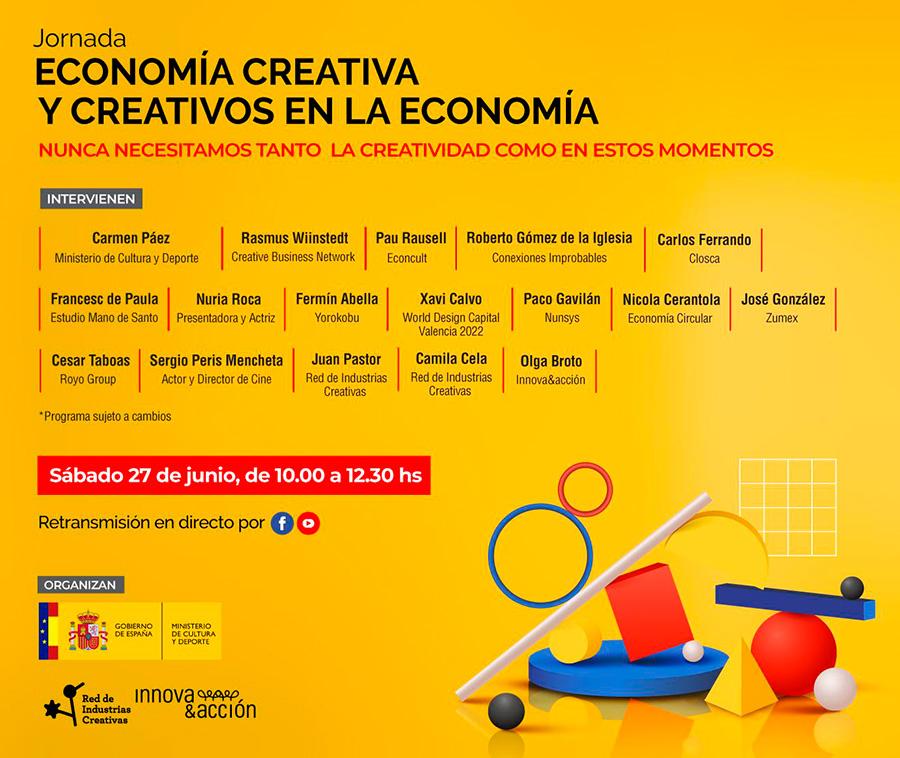 jornada economía creativa y creativos en la economía, programa