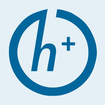 Símbolo h+ con el que se conoce el Transhumanismo.