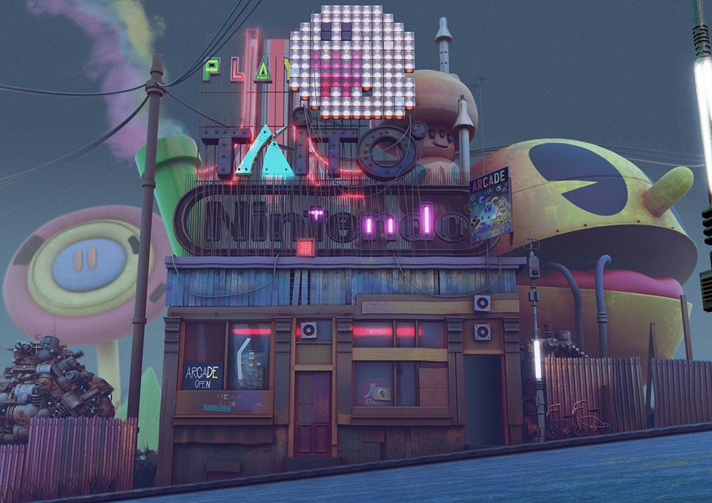 ilustrador jonathan ball ilustraciones 3D arcade shack